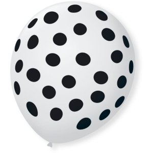 Balão Decorado Bolinhas Branco Polar/preto São Roque