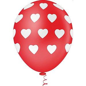 Balão Decorado N.010 Coração Big Vm C/bco Riberball