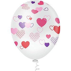Balão Decorado N.010 Coracoes Clear Riberball