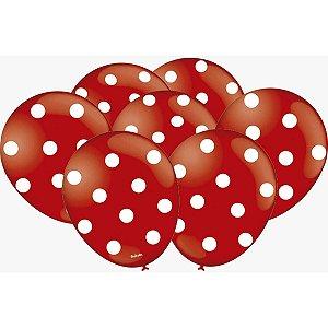 Balão Decorado N.09 Poa Vermelho/branco Festcolor