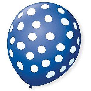 Balão Decorado N.090 Bolinha Az Cobalto C/bco São Roque