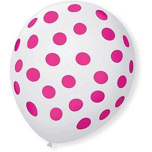 Balão Decorado N.090 Bolinha Bco Polar C/rosa São Roque
