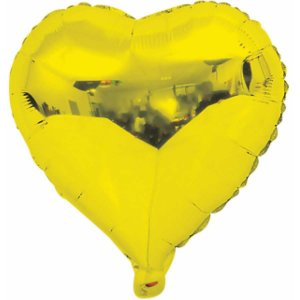 Balão Metalizado Coração Dourado 20Cm. C/03Unid Gala