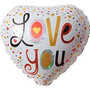 Balão Metalizado Coração Estamp. Love You 45Cm. Make+