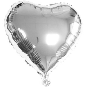 Balão Metalizado Coração Prata 20Cm. C/03 Unid. Gala