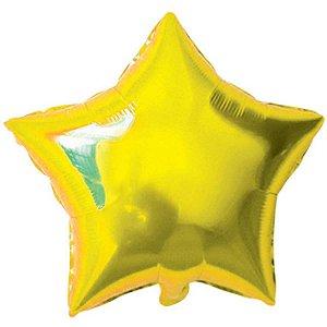 Balão Metalizado Estrela Dourada 20Cm. C/03Unid Gala