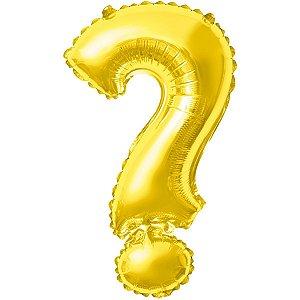 Balão Metalizado Interrogacao Dourado 40Cm. Make+