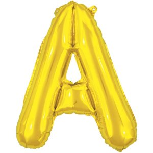 Balão Metalizado Letra A Dourado 40Cm. Make+