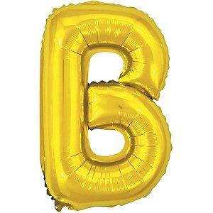 Balão Metalizado Letra B Dourado 40Cm. Make+
