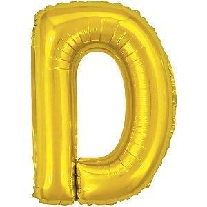 Balão Metalizado Letra D Dourado 40Cm. Make+