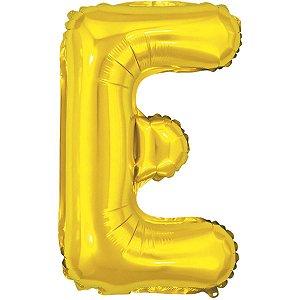 Balão Metalizado Letra E Dourado 40Cm. Make+