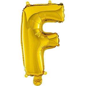 Balão Metalizado Letra F Ouro 40Cm. Mundo Bizarro