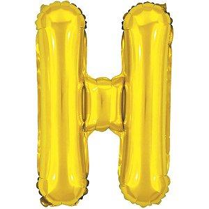 Balão Metalizado Letra H Dourado 40Cm. Make+