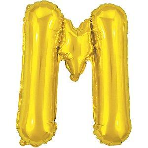 Balão Metalizado Letra M Dourado 40Cm. Make+