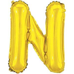 Balão Metalizado Letra N Dourado 40Cm. Make+
