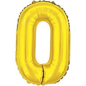 Balão Metalizado Letra O Dourado 40Cm. Make+
