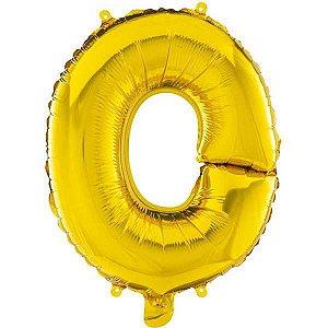Balão Metalizado Letra O Ouro 40Cm. Mundo Bizarro