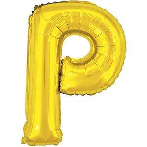 Balão Metalizado Letra P Dourado 40Cm. Make+