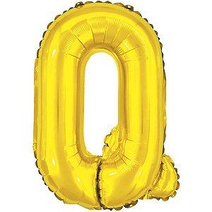 Balão Metalizado Letra Q Dourado 40Cm. Make+