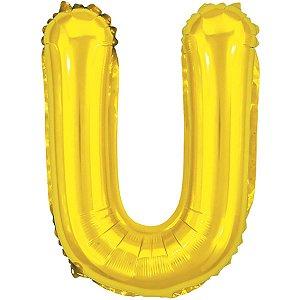 Balão Metalizado Letra U Dourado 40Cm Make+