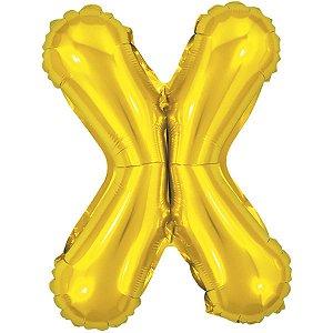 Balão Metalizado Letra X Dourado 40Cm Make+
