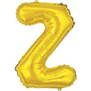 Balão Metalizado Letra Z Dourado 40Cm Make+