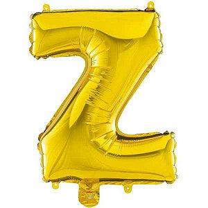 Balão Metalizado Letra Z Ouro 40Cm. Mundo Bizarro