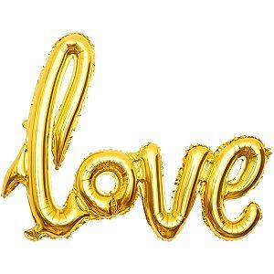 Balão Metalizado Love Dourado 108X65Cm. Make+