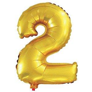 Balão Metalizado Número 2 Dourado 40Cm Gala