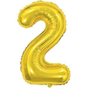 Balão Metalizado Número 2 Dourado 40Cm. Make+