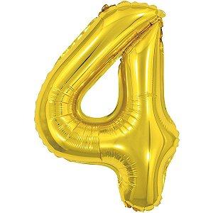 Balão Metalizado Número 4 Dourado 40Cm. Make+