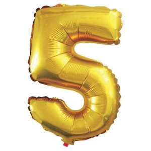Balão Metalizado Número 5 Dourado 40Cm Gala