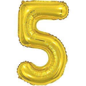 Balão Metalizado Número 5 Dourado 40Cm. Make+