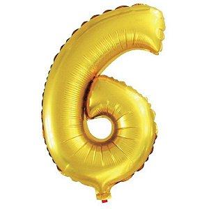Balão Metalizado Número 6 Dourado 40Cm Gala
