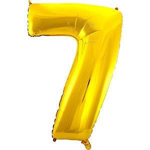 Balão Metalizado Número 7 Ouro 70Cm. Mundo Bizarro