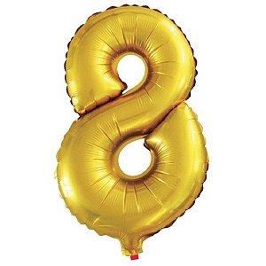 Balão Metalizado Número 8 Dourado 40Cm Gala