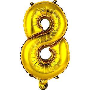 Balão Metalizado Número 8 Ouro 40Cm. Mundo Bizarro