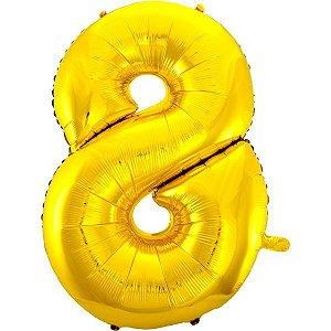 Balão Metalizado Número 8 Ouro 70Cm. Mundo Bizarro