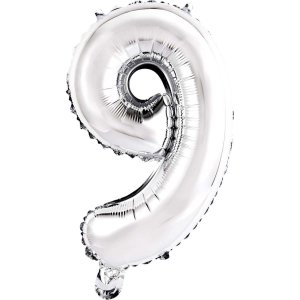 Balão Metalizado Número 9 Prata 40Cm. Mundo Bizarro