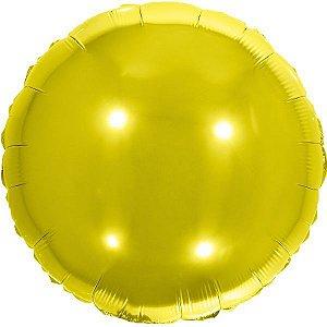 Balão Metalizado Redondo Dourado 45Cm. Make+