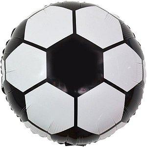 Balão Metalizado Redondo Estamp. Futebol 45Cm. Make+