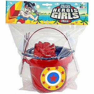 Baldinho De Praia Girls 15Cm C/7 Pecas Leplastic