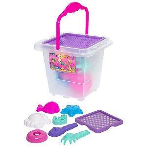 Baldinho De Praia Menina Com Moldes E Pa Merco Toys