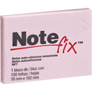 Bloco De Recado Autoadesivo Notefix 100F.76Mmx102Mm Rosa 3M