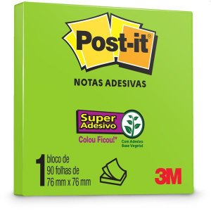 Bloco De Recado Post-It 76X76Mm Verde Limeade 90Fls. 3M