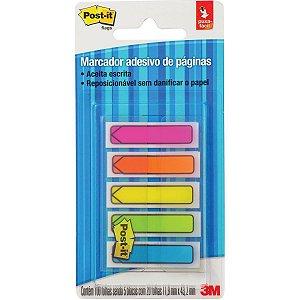 Bloco Marcador Pagina Adesivo Flags Seta 5Cores Neon 100Fls. 3M