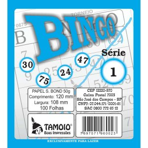 Bloco Para Bingo Azul 120X108Mm 100 Folhas Tamoio