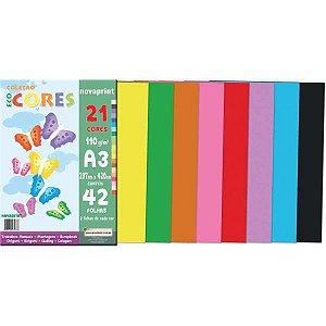 Bloco Para Educação Artística A3 21 Cores Sortidas 110G.42Fl Novaprint