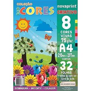 Bloco Para Educação Artística Criativo A4 8 Cores 75G.32F. Novaprint