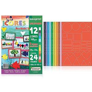 Bloco Para Educação Artística Multiformas 110G.12Cores 24F. Novaprint